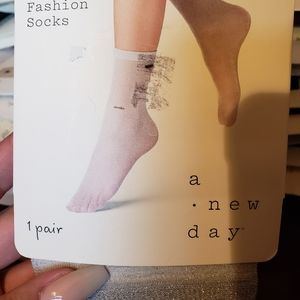 a new day Accessories - NWT Metallic Silver Fashion Socks